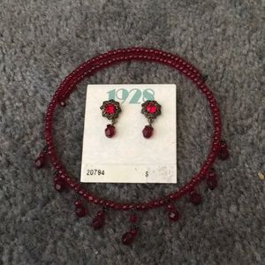 Jewelry - Ruby red pierced earrings With matching choker